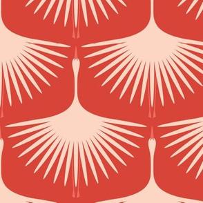 Art Deco Swans - Blush on Red