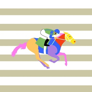 Custom Racing Horse two for 18 inch square pillow