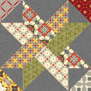 19-15f Quilt Panel Farm Vintage Retro Woven Star Brown