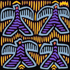 Kuna Indian Tribal Pajaros - Wallpaper - Yellow Blue Black