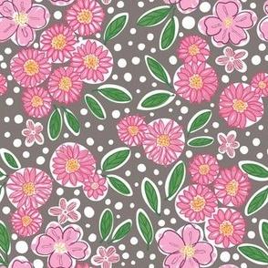 Pink Flower Garden in Gray