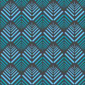 13 petalled abstract, blue