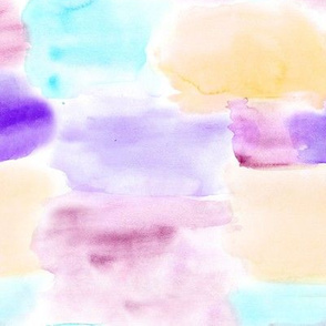 Watercolor texture in aqua, purple and peachy