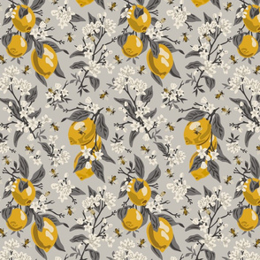 Bees And Lemons 2 - Small - Grey (grey leaves)