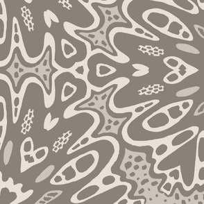 Kaleidoscope Abstract Floral - Warm Gray
