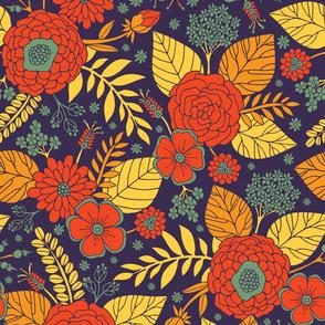 Orange, Purple, Teal & Yellow Floral Pattern