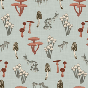 Shrooms Pink on Pool - Linen Texture