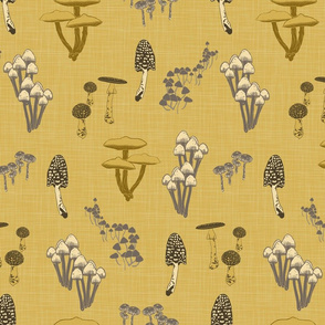 Shrooms Yellow on Curry - Linen Texture