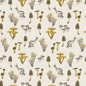 Shrooms - Yellow on Ivory - Small - Linen Texture