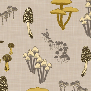 Shrooms Yellow on Khaki - Large - Linen Texture