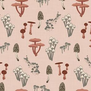 Shrooms Pink - Petal - Linen Texture