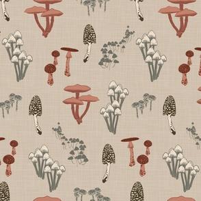 Shrooms Pink on Khaki - Linen Texture