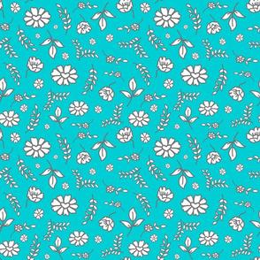 Fiori di Mimi's Meadow - White on Laguna blue, small