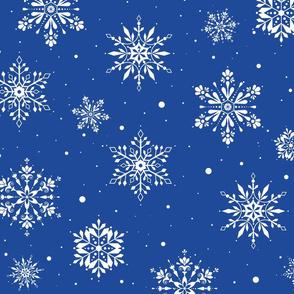 Christmas Folk Snowflakes2 Blue