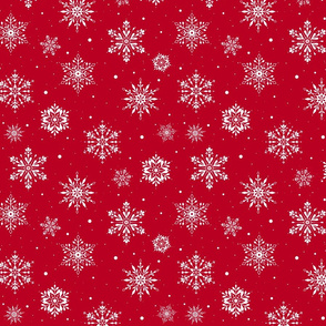 Christmas Folk Snowflakes2 Red-SM