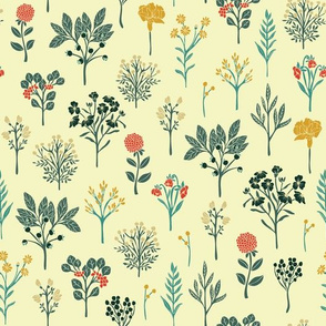 Dainty Yellow, Red, Teal & Cream Floral Pattern
