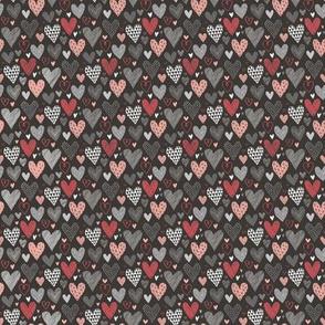 Hearts Geometric Love Valentine Red on Black Very Tiny Small