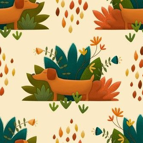 Cute Proud Dog in Autumn, Folk Art Florals and Plants