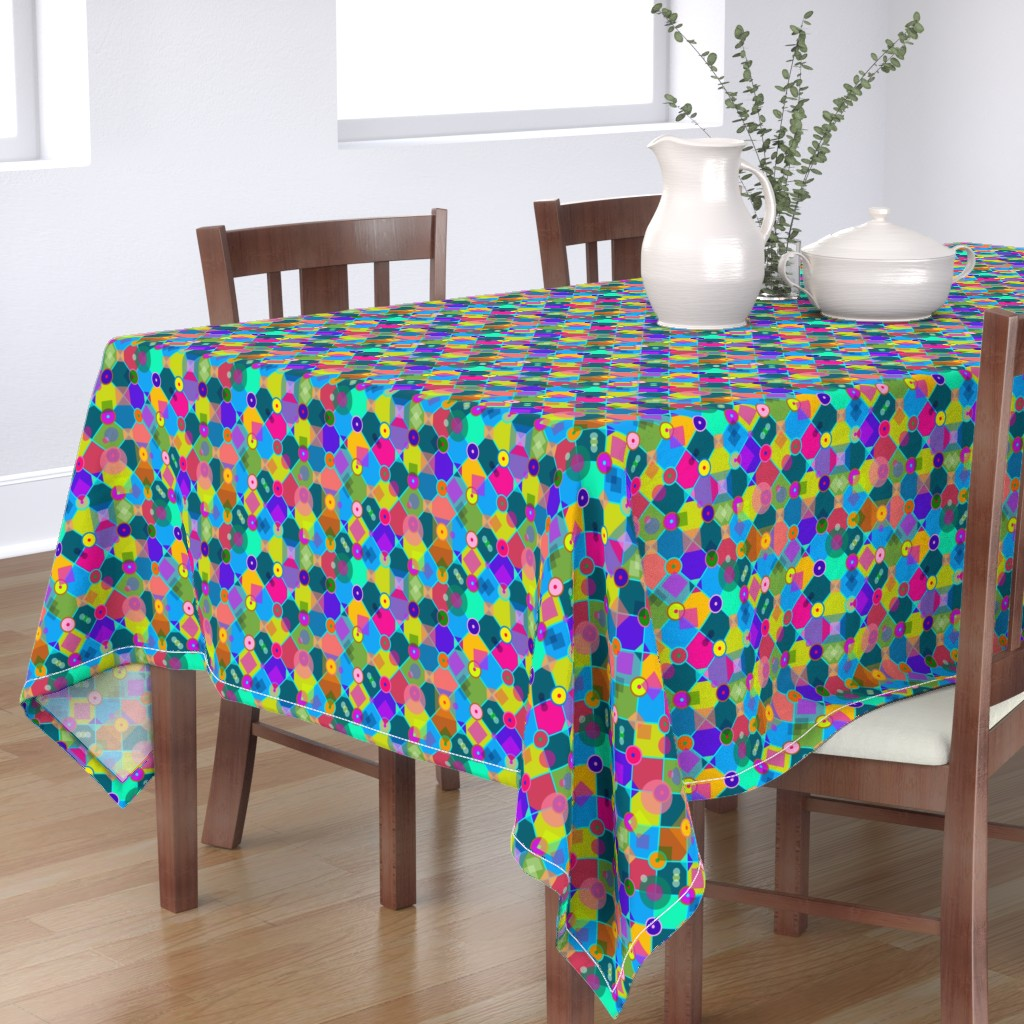 Bantam Rectangular Tablecloth featuring 70s Gem - Dance Floor Confetti by lierre