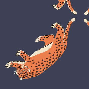 giant leopards blue background