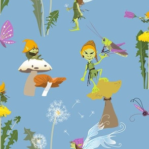 pixies in dandelion garden - light blue
