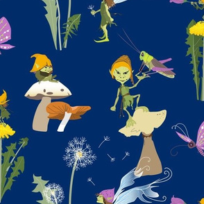 pixies in dandelion garden - dark blue