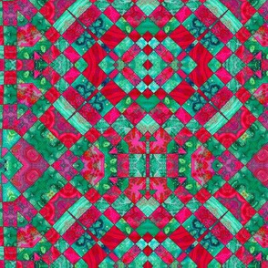 red and aqua checkered pattern