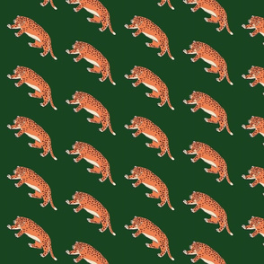 leopards in a row - on green background - half drop repeat