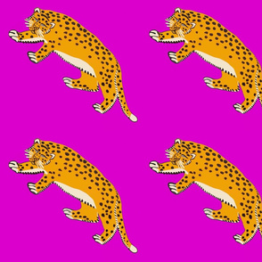 leopards on purple - smaller scale