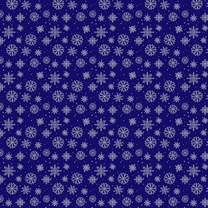 Snowflakes on midnight blue
