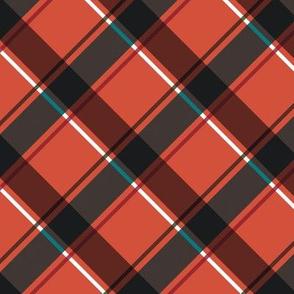 diagonal plaid-red