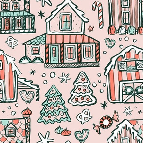 Gingerbread Farmhouses - Coral Mint