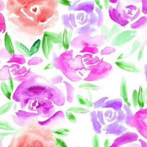 Roses garden in shades of pink • watercolor flowers