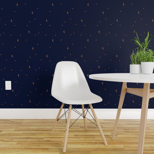 Wallpaper Dreamy Night Counting Stars Under The Moon Woodland Camping Trip Universe Christmas Winter Navy Blue Rust
