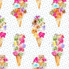 Dolce vita • watercolor ice cream cones with dots