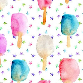 Fun watercolor popsicles with stars • ice cream