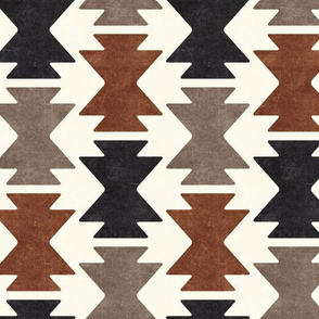 bohemian aztec -  taupe & inkwell - tribal mudcloth geometric - LAD19