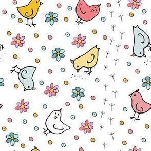Baby Chicks and  Daisies (White)