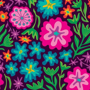 Sayulita 70s Mexican-Inspired Floral Botanical from UnBlink Studio by Jackie Tahara-LARGE Scale