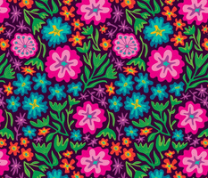 70s Mexican-Inspired Floral Botanical from UnBlink Studio by Jackie Tahara-LARGE Scale
