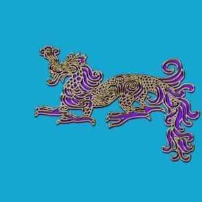 Golden Amethyst Dragon for Pillow