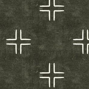 mudcloth cross on dark olive - home decor - LAD19