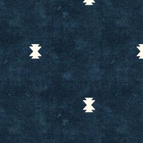 bohemian aztec simple - dark blue - tribal mudcloth geometric - LAD19