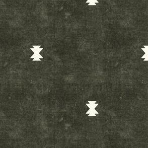 bohemian aztec simple - dark olive - tribal mudcloth geometric - LAD19