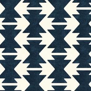bohemian aztec - dark blue - tribal mudcloth geometric - LAD19