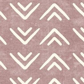 mud cloth triangles - boho - farmhouse - mauve - LAD19