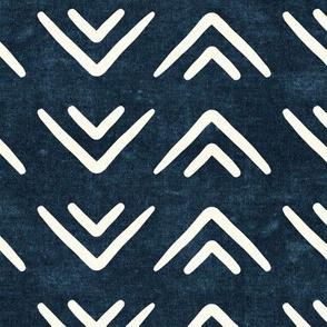 mud cloth triangles - boho - farmhouse - dark blue - LAD19
