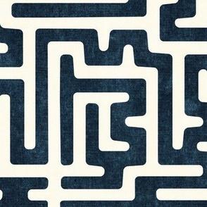 maze - mud cloth - tribal in dark blue -  LAD19