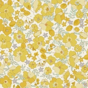 Floral Illustrated 70s Vintage-yellow