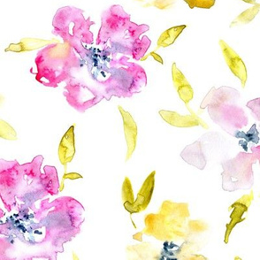 So wild roses • watercolor pink and yellow florals